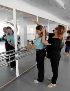 Beth teaching dance physio in Switzerland